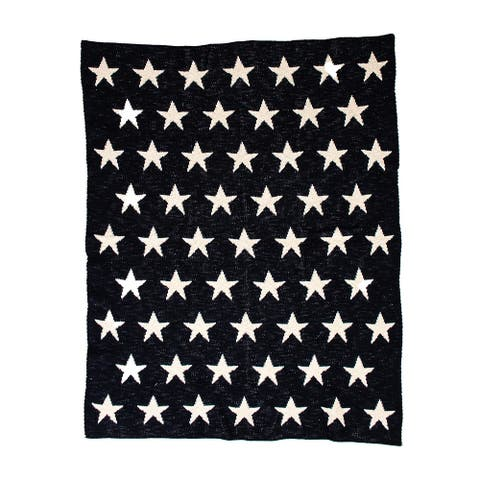 """Starry Starry Night Navy Blue Knitted 32"""" X 40"""" Baby Blanket - 32 x 40"""