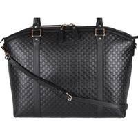 "Gucci 449658 Large Black Leather Micro GG Guccissima Crossbody Satchel Purse - 15"" x 12.3"" x 6"""