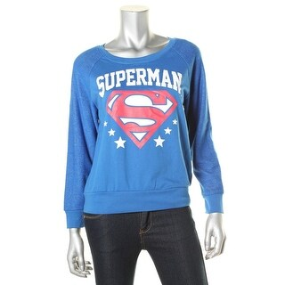 Superman Womens Juniors Long Sleeves Stretch Graphic Tee