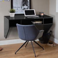Costway Wall Mounted Floating Computer Table Sturdy Desk Home Office Furni Storag Shelf - Black