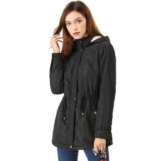 Women's Drawstring Wasit Pockets Winter Hooded Jacket - Black