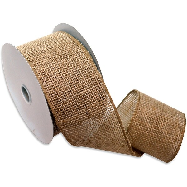 "Burlap Wired Ribbin 2.5""X10yd-Natural"