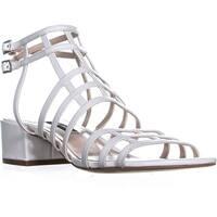 Nine West Xerxes Low-Heel Dress Sandals, White Leather - 8.5 us