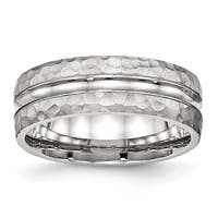 Stainless Steel Polished Hammered and Grooved 7.5 mm Band Ring - Sizes 7 - 13