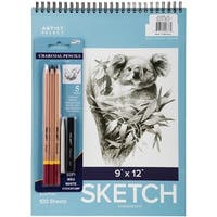 "Artist Select Sketch Pad 9""X12"" & 5Pc Charcoal Pencil Set-100 Sheets"