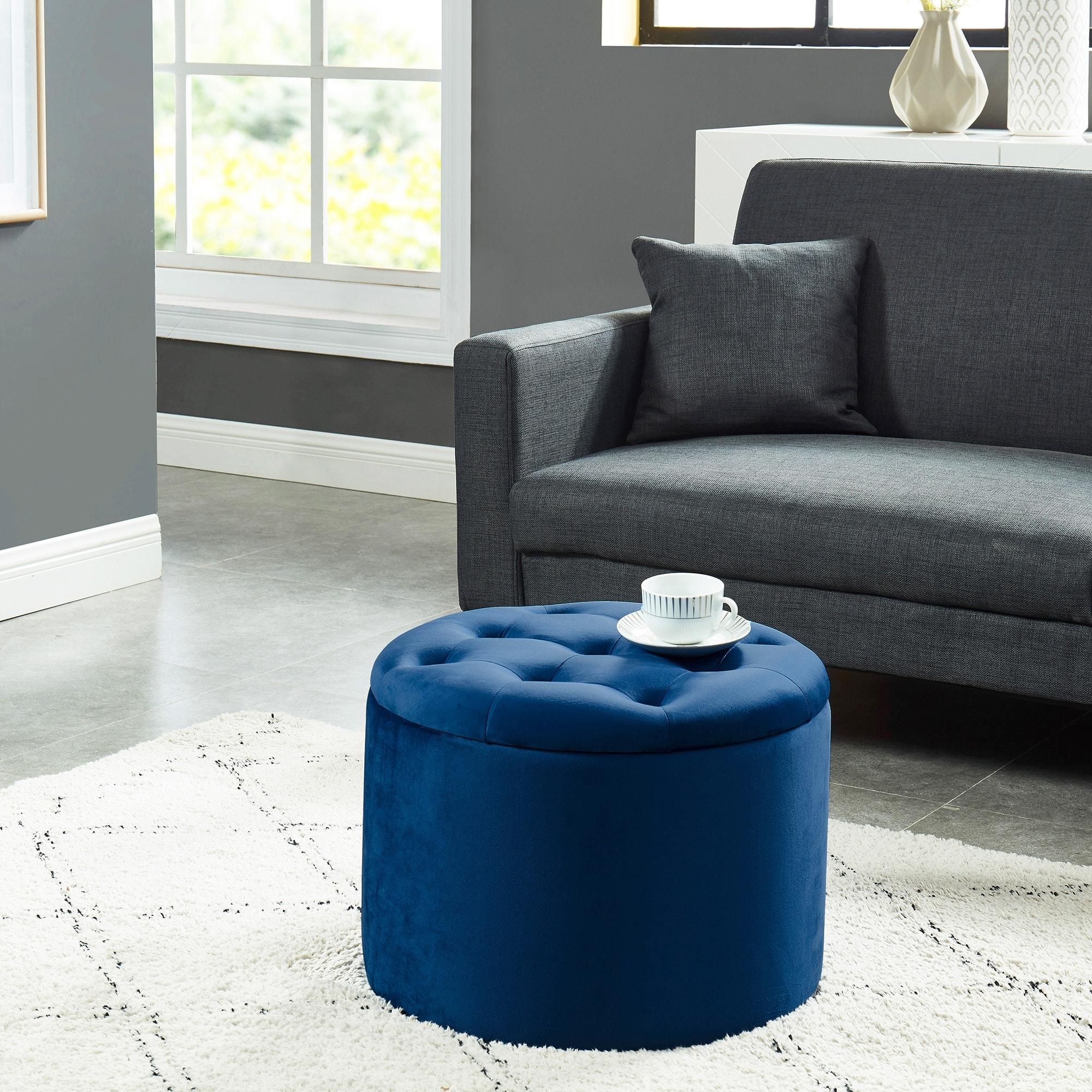 - Shop Upholsterd Round Storage Ottoman - Overstock - 27801948 - Grey