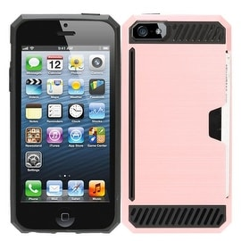 Dual Layer Hybrid Rubberized Hard PC/ Silicone ID/ Card Slot Case Cover for Apple iPhone 5/ 5S/ SE