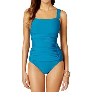 Swim Solutions Womens Ruched Waist Minimizer One-Piece Swimsuit
