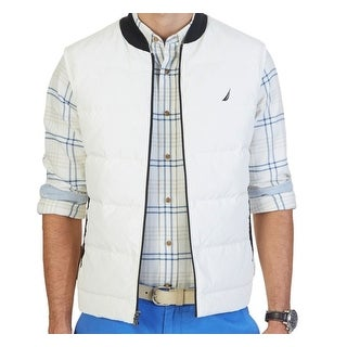 Nautica NEW White Marshmellow Mens Size Small S Quilted Full-Zip Vest