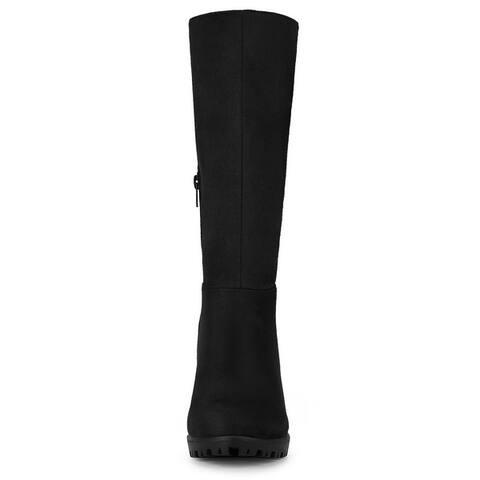 Women's Mid Calf Block Heel Boots