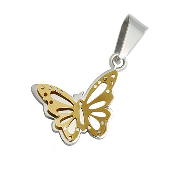 Stainless Steel Two Tone Butterfly Pendant - 18 inches