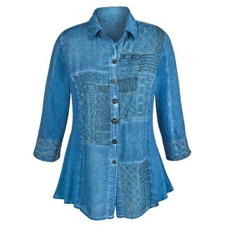 Women's Tunic Top - Chambray Denim Button Down Shirt