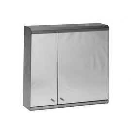 Medicine Cabinet Brushed Stainless Double Door Mirrored