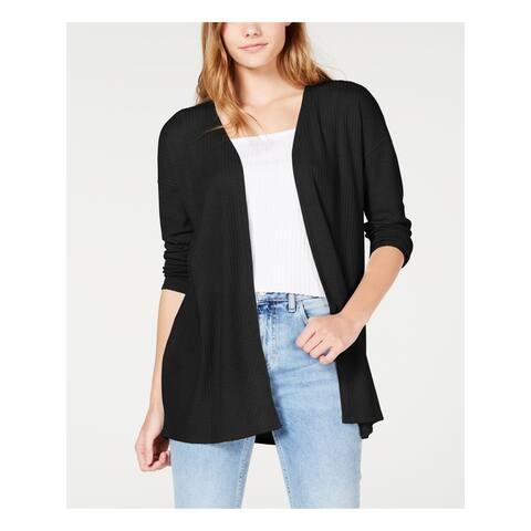 HIPPIE ROSE Womens Black 3/4 Sleeve Open Cardigan Top Size S