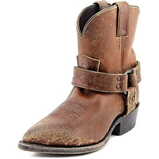 Frye Billy Harness Short Women Pointed Toe Leather Brown Ankle Boot