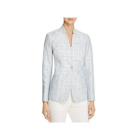 Elie Tahari Womens Tori One-Button Blazer Metallic Tweed