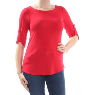 TOMMY HILFIGER Womens Red 3/4 Sleeve Jewel Neck Top  Size 8