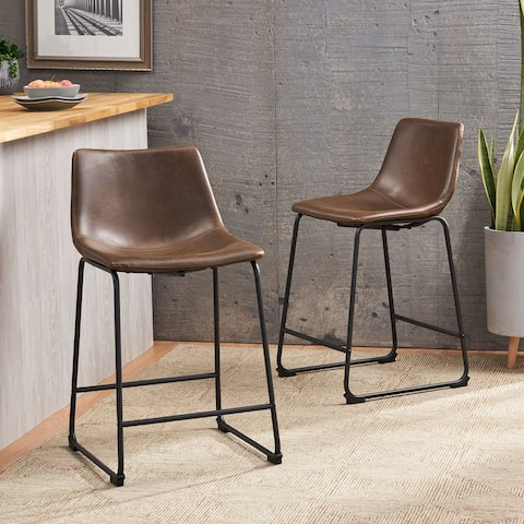 Cedric Leather Counter Stool (Set of 2) by Christopher Knight Home