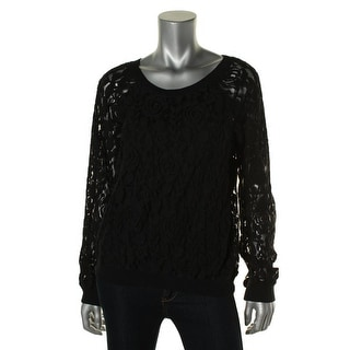 Denim & Supply Ralph Lauren Womens Lace Long Sleeves Pullover Top - L