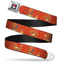 Pok Ball Full Color Charmander Poses Flames Orange Red Webbing Seatbelt Seatbelt Belt
