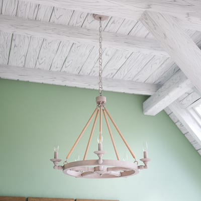 Evelyn 5 Light Chandelier - Weathered White with Rope