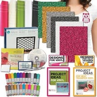 Silhouette Bundle – Vinyl, Transfer Tape, Glitter Htv, Tools, 24 Sketch Pens