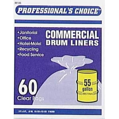 Berry Plastics 618644 Commercial Drum Liners, 55 Gallon, Box Of 60