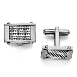 Chisel Stainless Steel and Grey Carbon Fiber Rectangular Brushed and Polished Cuff Links