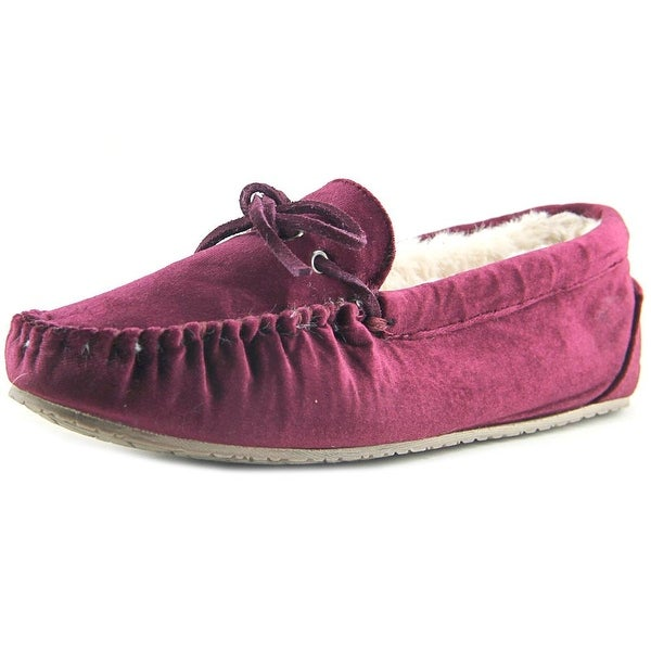 Minnetonka Trendy Trapper Women Canvas Burgundy Moccasins