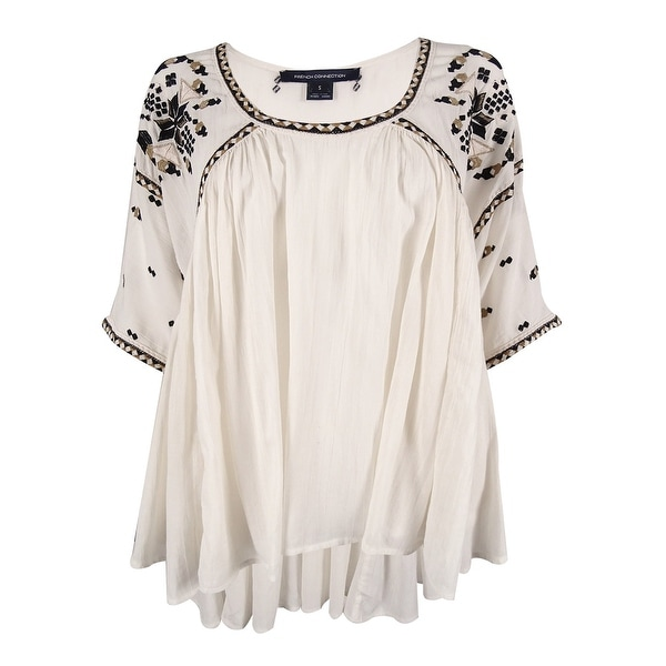 French Connection Women's Embroidered Scoop Neck Top - Cream - S