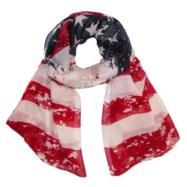CTM® Women's American Flag Ruana Shawl Scarf - One size