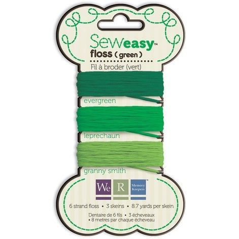 Sew Easy Solid 6-Strand Floss 8.7yd 3/Pkg-Green - Green