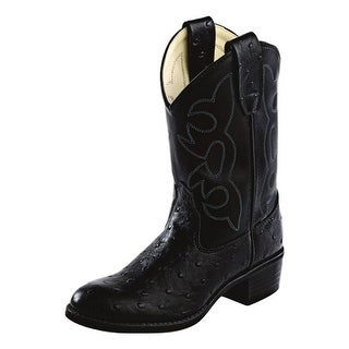 Old West Cowboy Boots Boys Girls Kids Tabs Ostrich Print Black OR9110