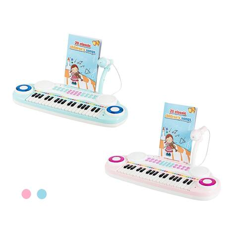 Costway 37-Key Toy Keyboard Piano Electronic Musical Instrument BluePink
