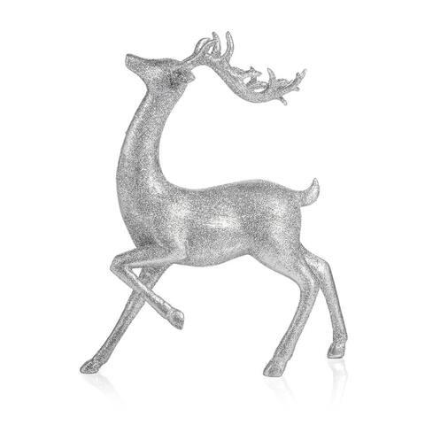 "11.75"" Tall Silver Sparkle Deer Figurine Statue"