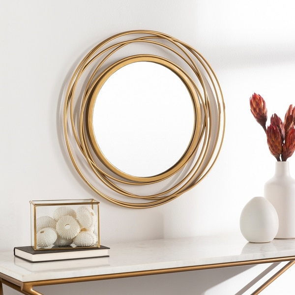 """Kindra Modern Circles Golden 21-inch Round Mirror - 22""""H x 21""""W. Opens flyout."""
