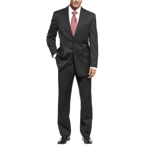 Michael Kors Mens Solid Black Two Button Formal Suit, Black, 40 / 32W x UnfinishedL