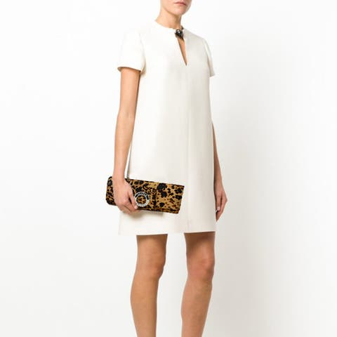 Leopard Print Evening Bag-Baguette Style