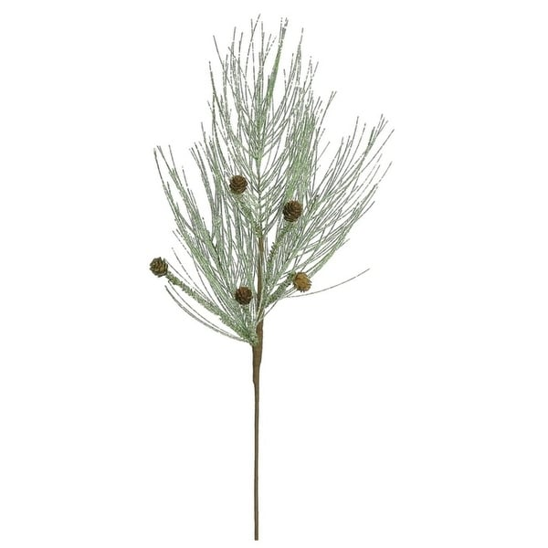 "28"" Icy Green Frost and Mica Pine Cone Artificial Christmas Spray"
