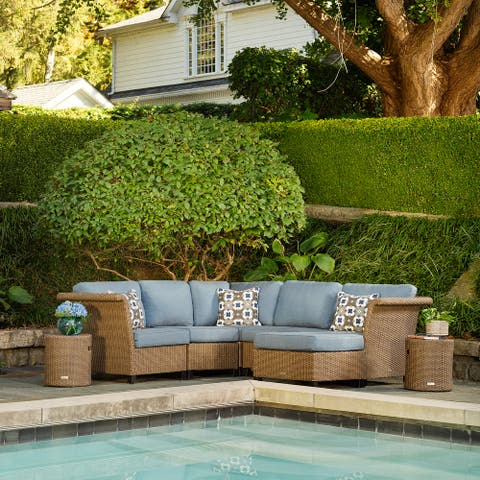 La-Z-Boy Nolin 5pc Weathered Brown Sectional Set with 2 Side Tables and 1 Ottoman, Sunbrella Spectrum Denim Fabric