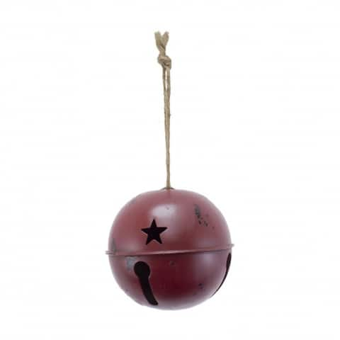 "4"" Large Red Distressed Metal Bell Hanging Christmas Ornament"