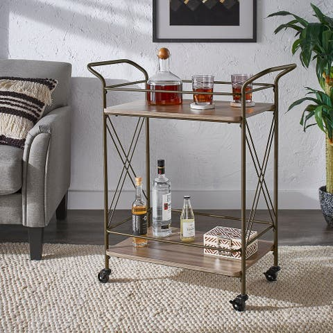 Sionis Bronze Finish and Wood Double-Cross Bar Cart by iNSPIRE Q Modern - Bar Cart