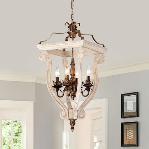 Antique White Birch Wood and Antique Gold 4-Light Lantern Pendant
