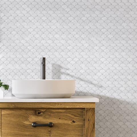 "Marble Mosaic Tile Bianco Carrara 1.7""x1.6"" Polished - 10PCS"