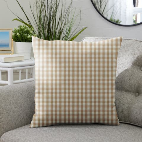 Beige White Check Indoor/Outdoor Single Pillow, Knife Edge