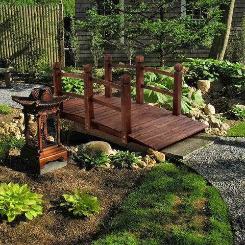 "59"" Arch Bridge Small Wooden Bridge Courtyard Outdoor Anticorrosive"