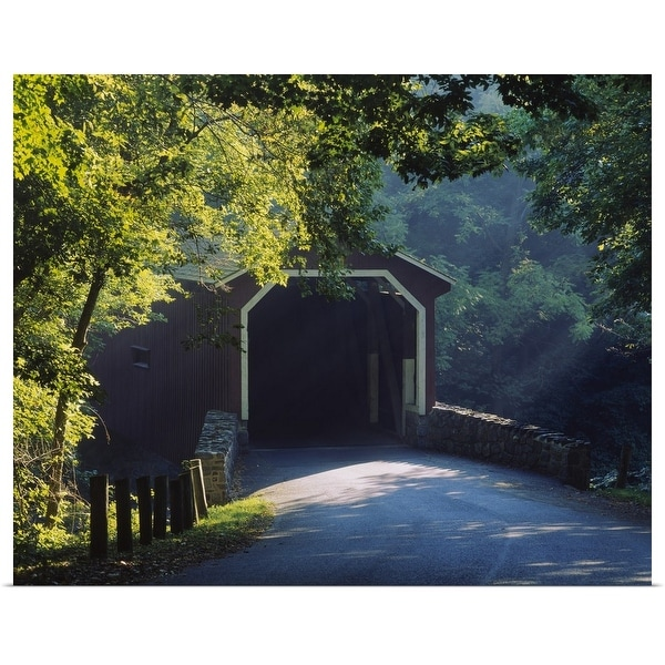 """Covered bridge in a forest, Lancaster, Pennsylvania"" Poster Print"