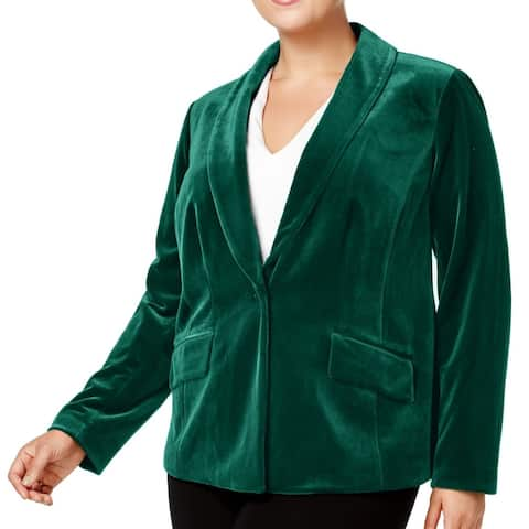 INC Womens Jacket Hunter Forest Green Size 3X Plus Velvet Single-Button