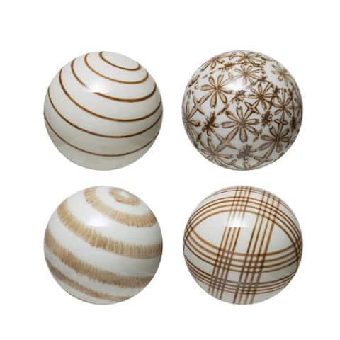 Stoneware Brown Orbs, Set of 4 Styles