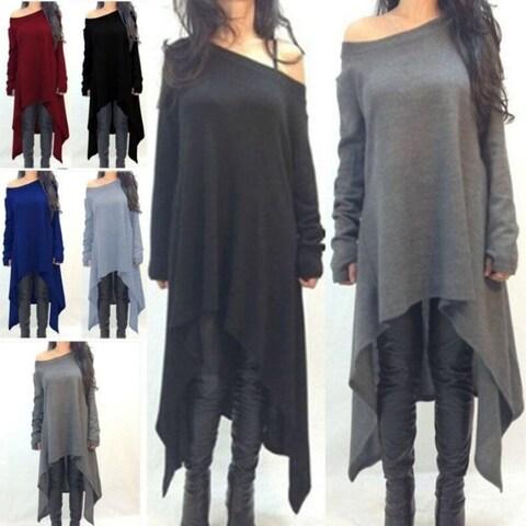 Women Grey black Long Sleeve Irregular Hem Cotton Slim Fit
